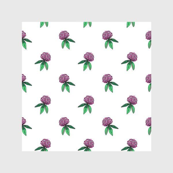 Скатерть «Нежный орнамент из цветов розового клевера и зеленых листиков»