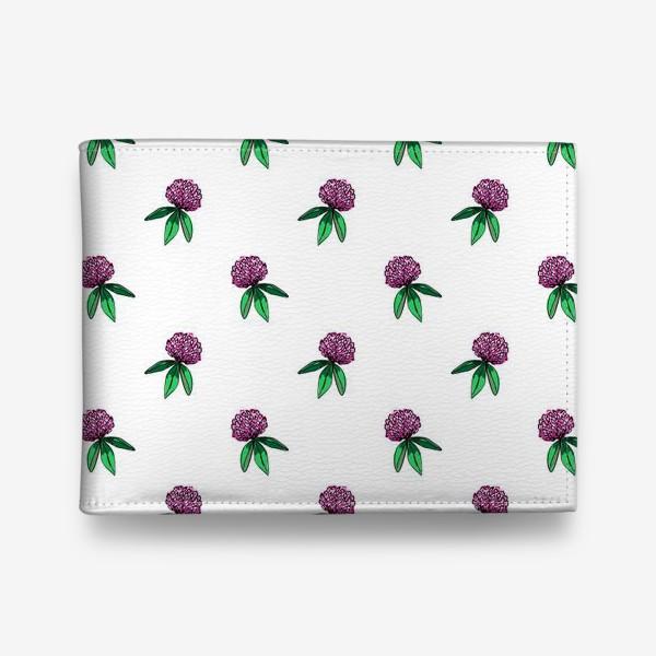 Кошелек «Нежный орнамент из цветов розового клевера и зеленых листиков»