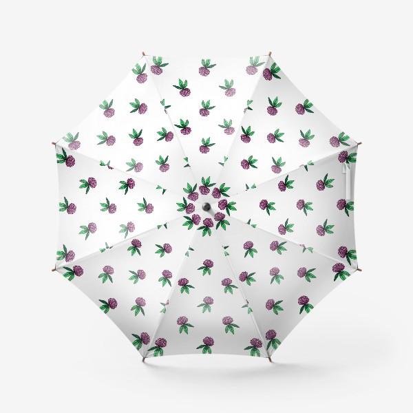 Зонт «Нежный орнамент из цветов розового клевера и зеленых листиков»