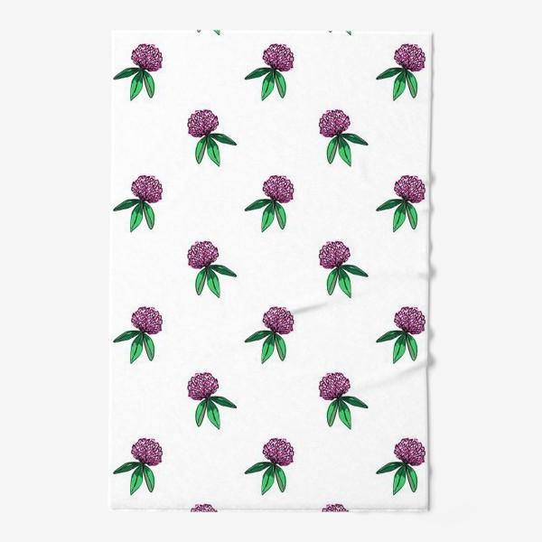 Полотенце «Нежный орнамент из цветов розового клевера и зеленых листиков»