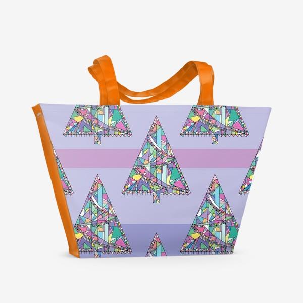 Пляжная сумка «Новогодние елки»
