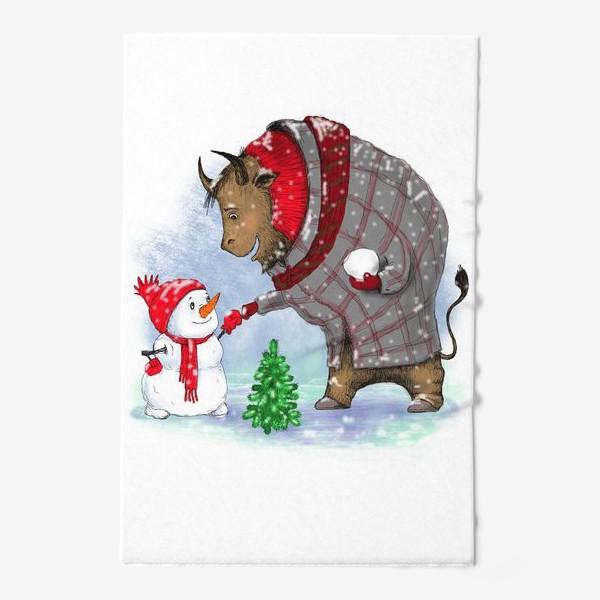 Полотенце «Бык и снеговик. »