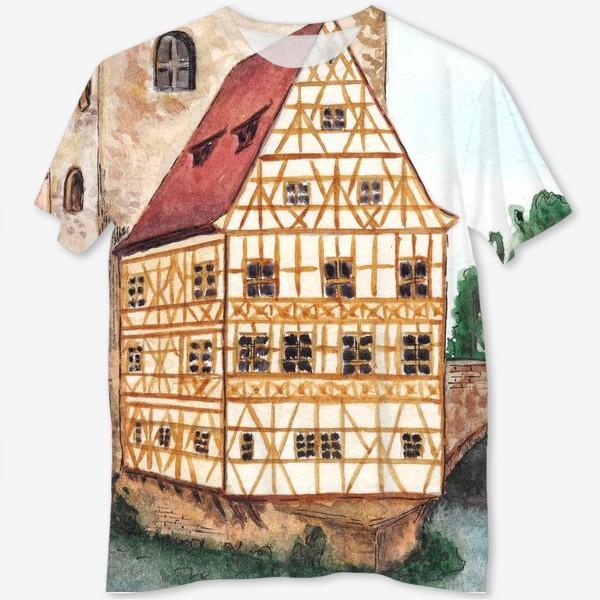 Футболка с полной запечаткой «Акварельный старый город в Германии, фахверковый дом»
