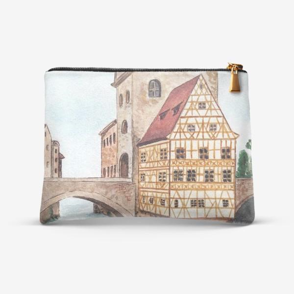 Косметичка «Акварельный старый город в Германии, фахверковый дом»