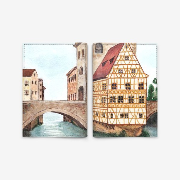 Обложка для паспорта «Акварельный старый город в Германии, фахверковый дом»