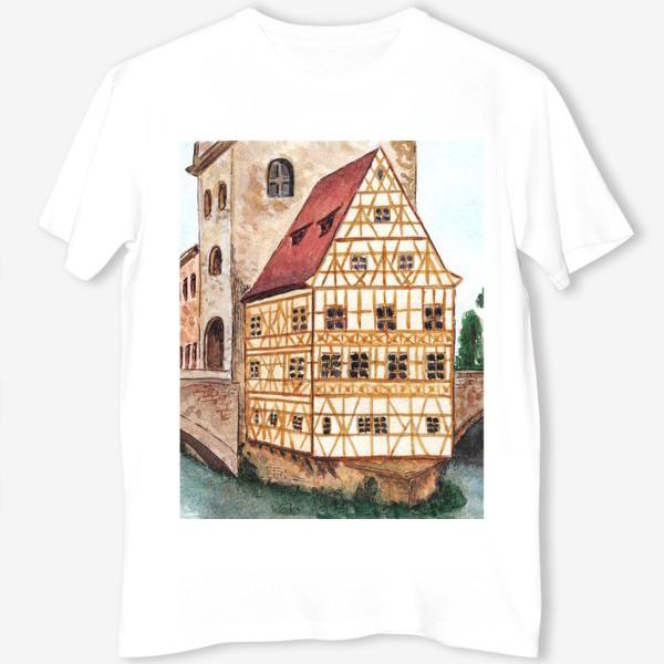 Футболка «Акварельный старый город в Германии, фахверковый дом»