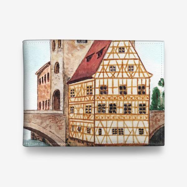 Кошелек «Акварельный старый город в Германии, фахверковый дом»