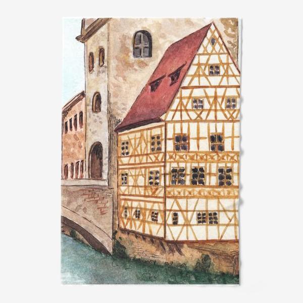 Полотенце «Акварельный старый город в Германии, фахверковый дом»