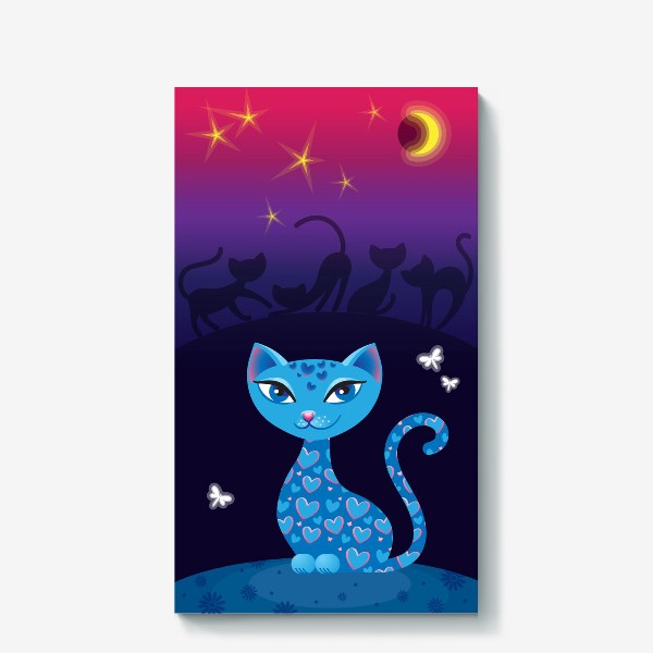 Холст «Кошка, которая гуляет сама по себе. Ночь»