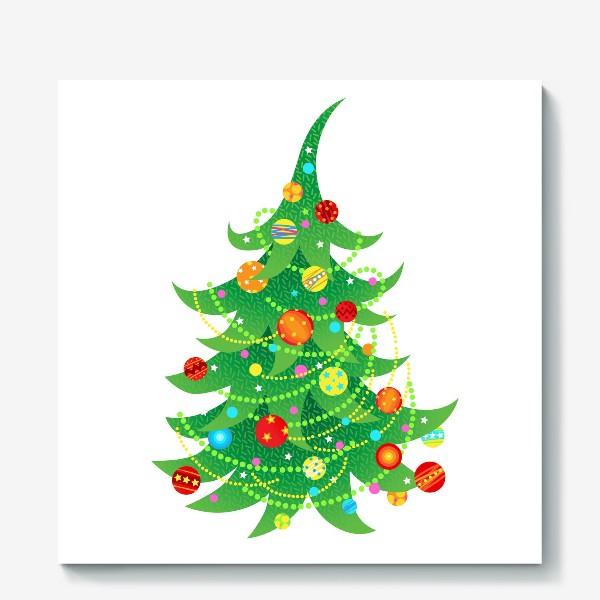 Холст «Новогодняя елка с яркими шарами и бусами»