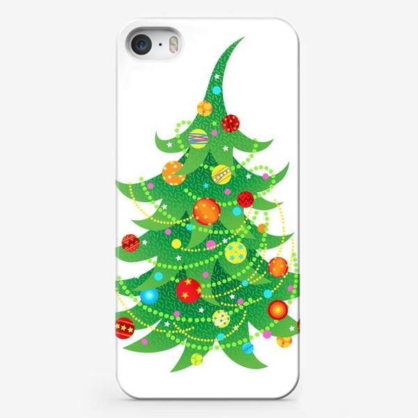 Чехол iPhone «Новогодняя елка с яркими шарами и бусами»