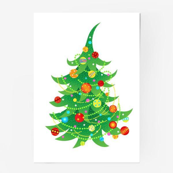 Постер «Новогодняя елка с яркими шарами и бусами»