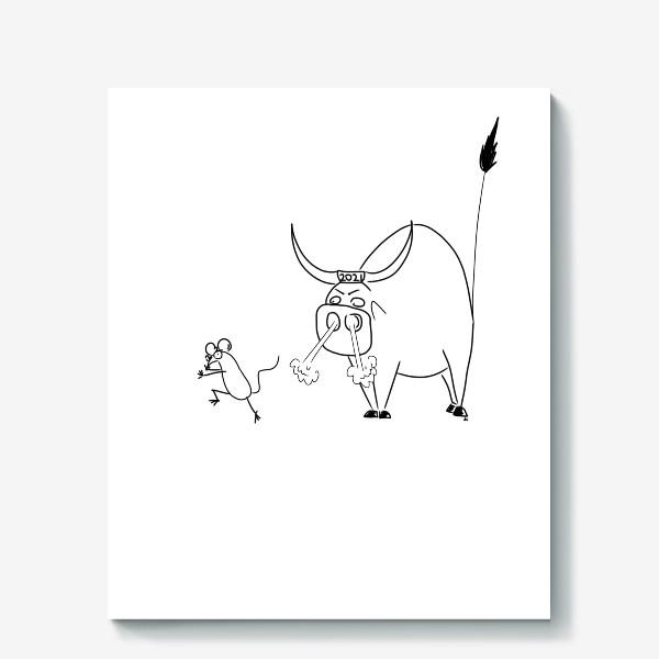 Холст «Год быка 2021! Новый год»
