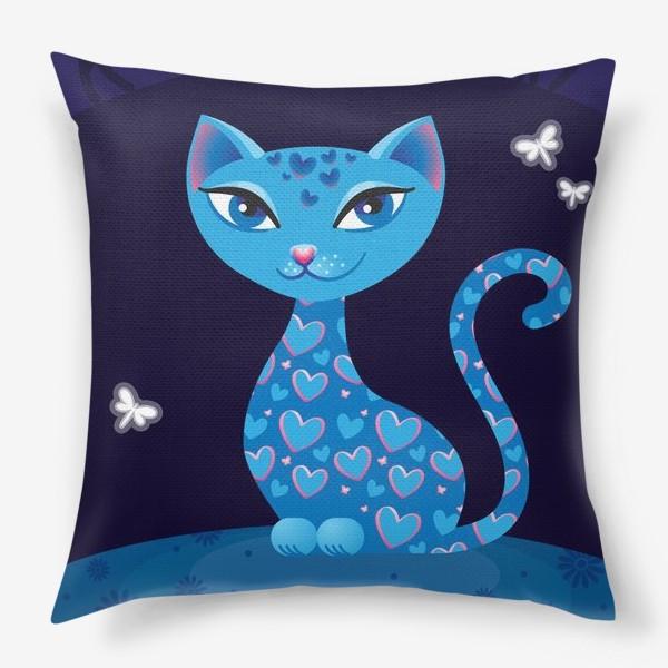 Подушка «Кошка, которая гуляет сама по себе. Ночь»