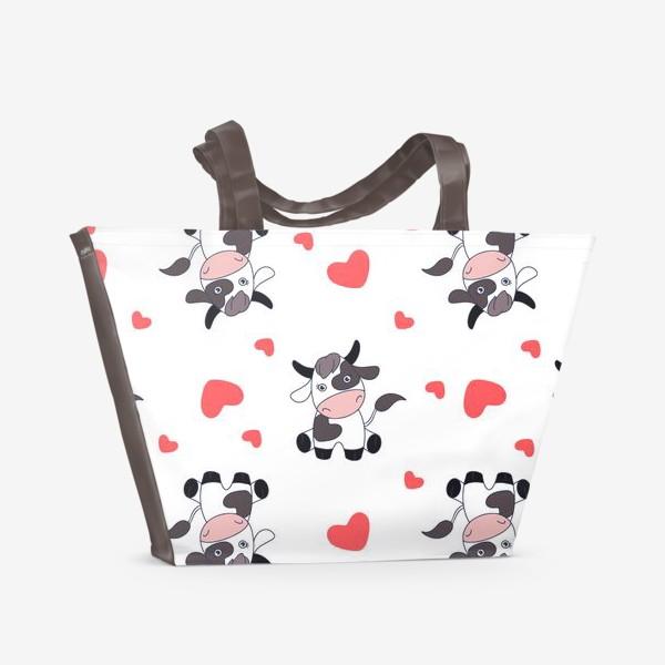 Пляжная сумка «Корова паттерн»