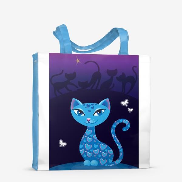Сумка-шоппер «Кошка, которая гуляет сама по себе. Ночь»