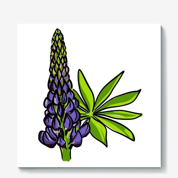 Холст «Цветок люпин с листьями. Синий бутон люпина»