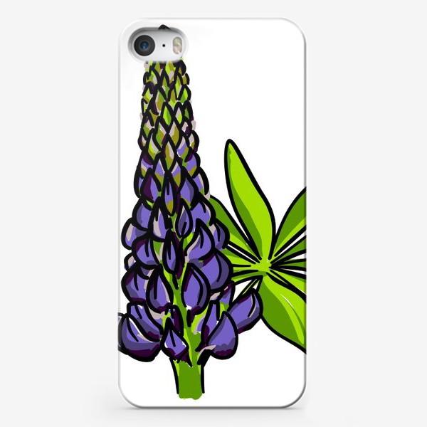 Чехол iPhone «Цветок люпин с листьями. Синий бутон люпина»