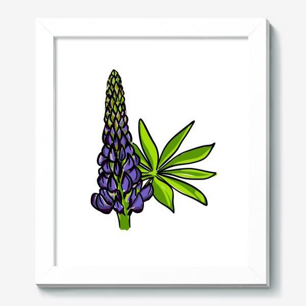 Картина «Цветок люпин с листьями. Синий бутон люпина»