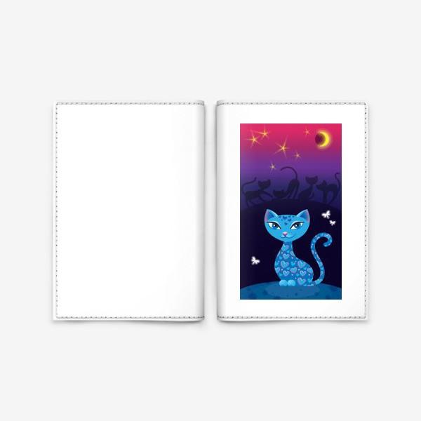 Обложка для паспорта «Кошка, которая гуляет сама по себе. Ночь»