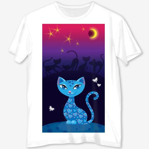 Футболка с полной запечаткой «Кошка, которая гуляет сама по себе. Ночь»