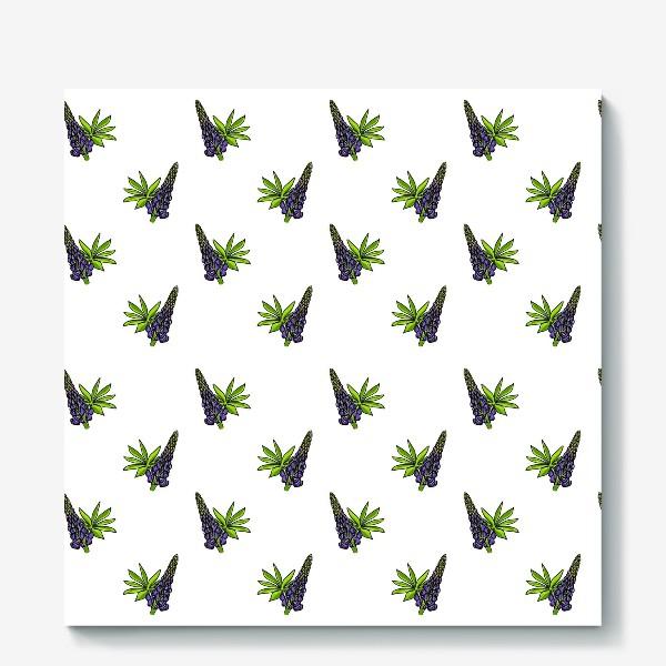 Холст «Цветочный орнамент из синих люпинов и зеленых листьев на белом фоне»