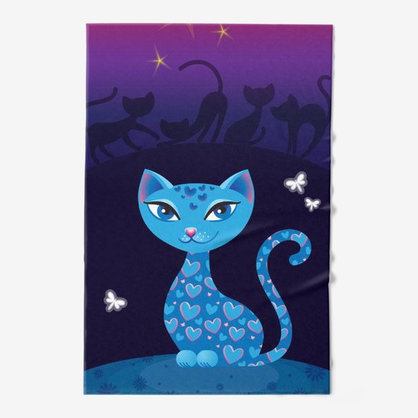 Полотенце «Кошка, которая гуляет сама по себе. Ночь»