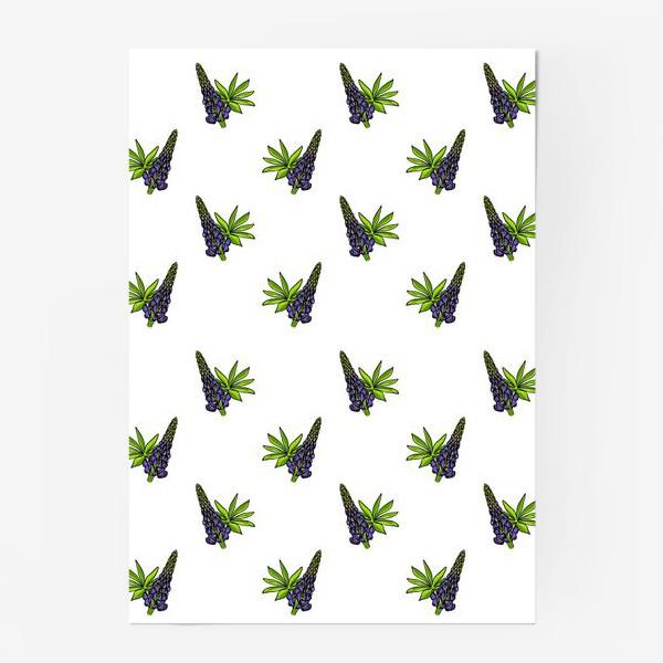 Постер «Цветочный орнамент из синих люпинов и зеленых листьев на белом фоне»