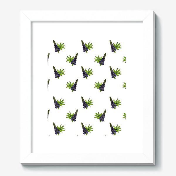 Картина «Цветочный орнамент из синих люпинов и зеленых листьев на белом фоне»
