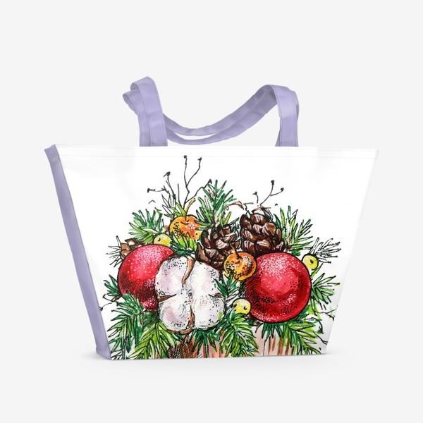 Пляжная сумка «Новогодняя композиция»