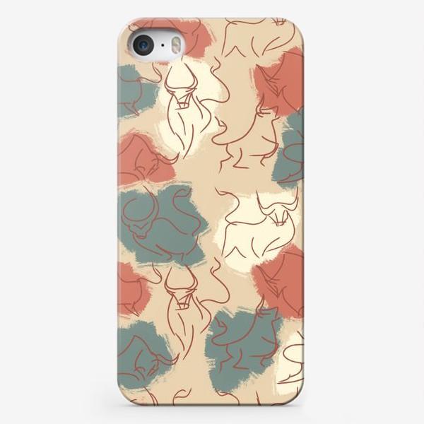 Чехол iPhone «Паттерн быки на пастельном фоне»
