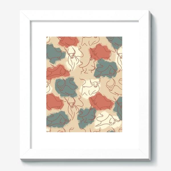 Картина «Паттерн быки на пастельном фоне»