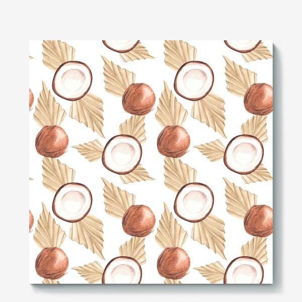 Холст «Коккос и пальма. Тропический паттерн»