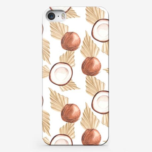 Чехол iPhone «Коккос и пальма. Тропический паттерн»