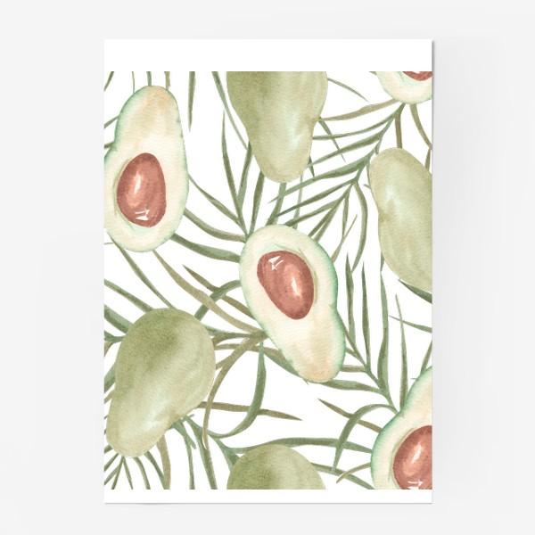 Постер «Авокадо с листьями пальмы. паттерн»