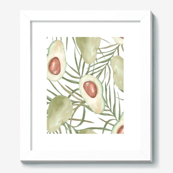 Картина «Авокадо с листьями пальмы. паттерн»