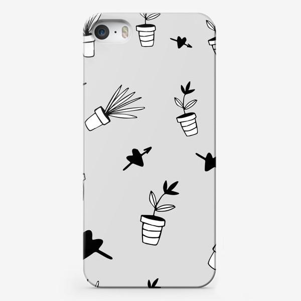 Чехол iPhone «Цветы в горшках  милый принт»