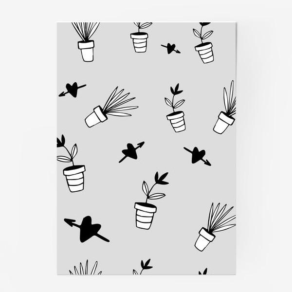 Постер «Цветы в горшках  милый принт»