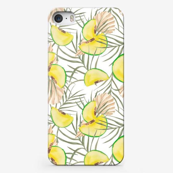 Чехол iPhone «Дыня и листья. Тропический паттерн»