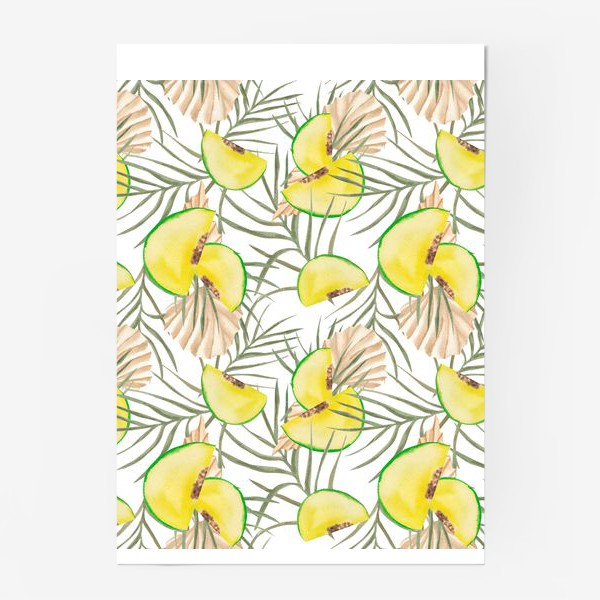 Постер «Дыня и листья. Тропический паттерн»