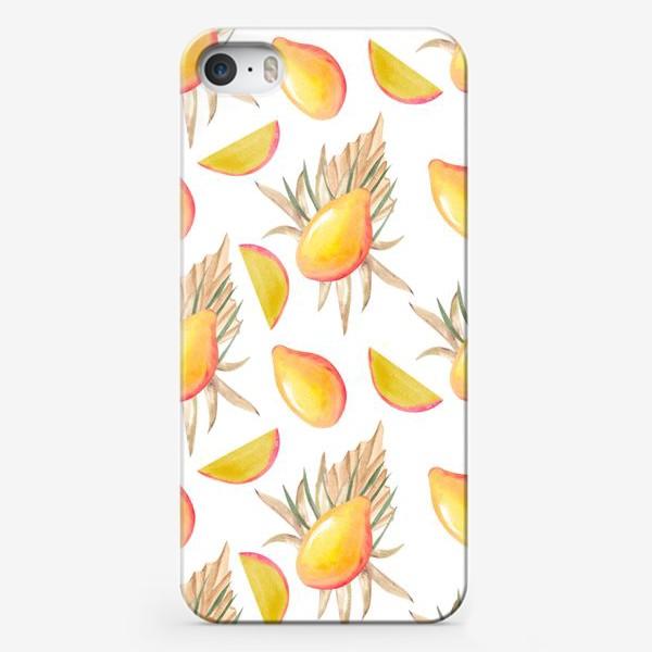 Чехол iPhone «Манго и листья. тропический паттерн»