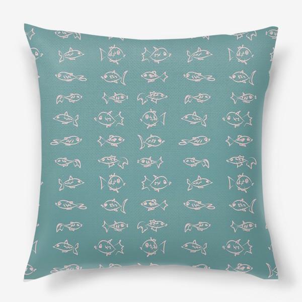 Подушка «Рыбы нарисованные розовым контуром  на бирюзовом фоне»