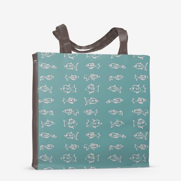 Сумка-шоппер «Рыбы нарисованные розовым контуром  на бирюзовом фоне»