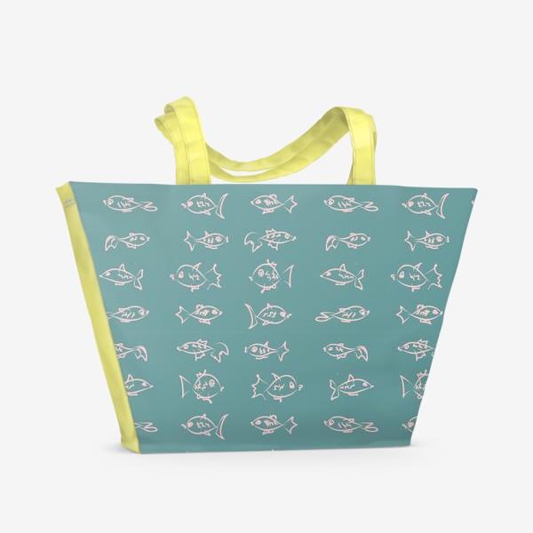 Пляжная сумка «Рыбы нарисованные розовым контуром  на бирюзовом фоне»