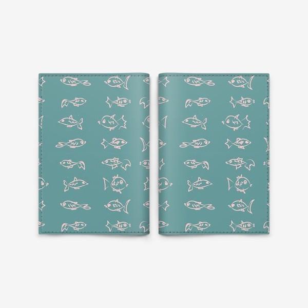 Обложка для паспорта «Рыбы нарисованные розовым контуром  на бирюзовом фоне»
