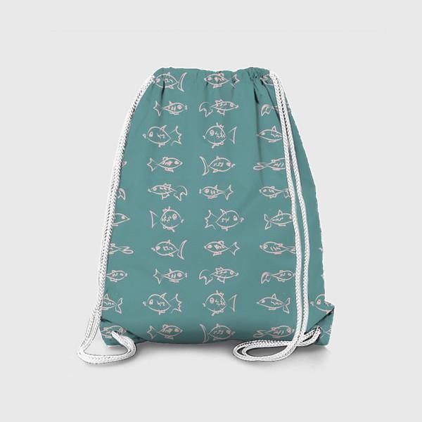 Рюкзак «Рыбы нарисованные розовым контуром  на бирюзовом фоне»