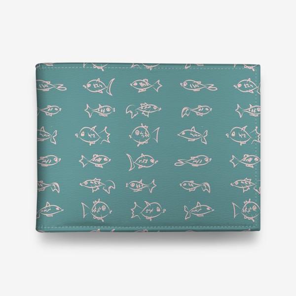 Кошелек «Рыбы нарисованные розовым контуром  на бирюзовом фоне»