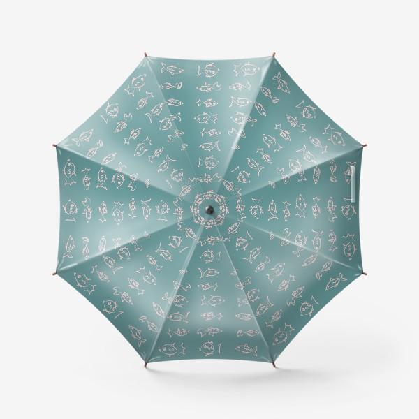 Зонт «Рыбы нарисованные розовым контуром  на бирюзовом фоне»