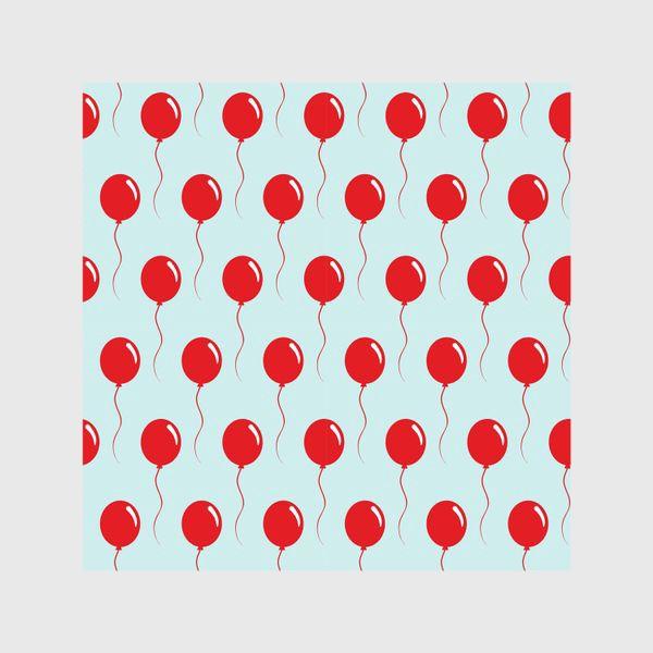 Шторы «Красные воздушные шарики на веревке на голубом фоне»