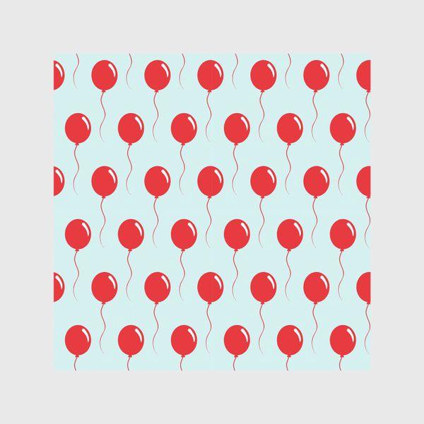 Скатерть «Красные воздушные шарики на веревке на голубом фоне»